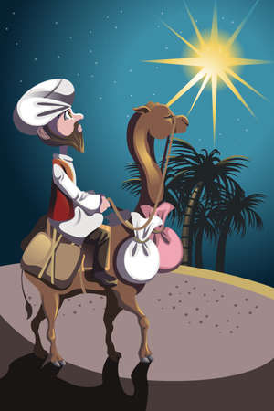 A illustration of a sheik riding a camel in the desert Vector