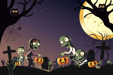 spook: A illustration of a Halloween celebration