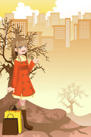 A illustration of a beautiful girl shopping in the city Vector