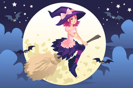wicked woman: A illustration of beautiful flying witch