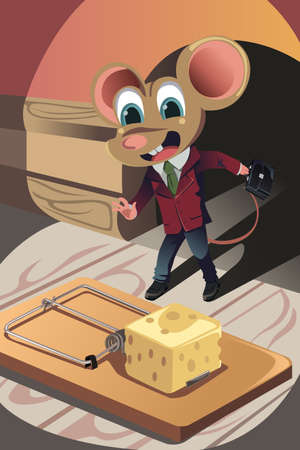 mouse trap: A  illustration of a business concept of a mouse dressed in a business suit facing a trap Illustration