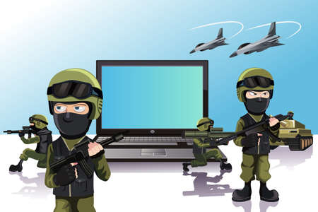 A illustration of an army of soldiers protecting a laptop