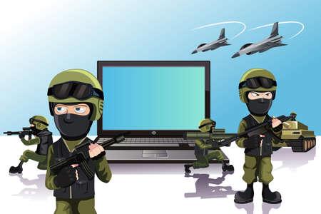 computadora caricatura: Una ilustración de un ejército de soldados de la protección de un ordenador portátil
