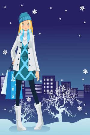 Een illustratie van een mooi meisje winkelen in de stad tijdens winterseizoen Stock Illustratie