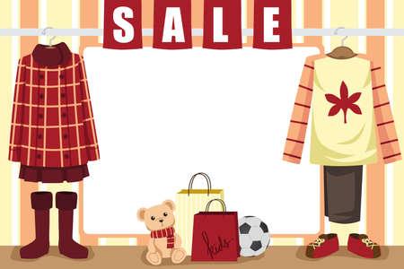가을 쇼핑 매장 윈도우 디스플레이의 그림 일러스트