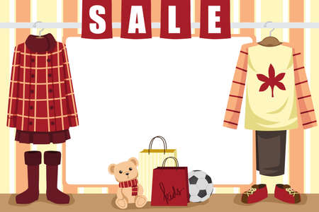 store window: A  illustration of store window display for autumn shopping