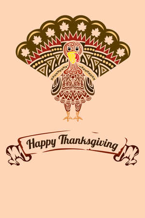 A  illustration of a Thanksgiving background with turkey design Vector