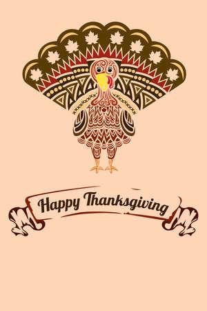 aves de corral: Una ilustraci�n de un fondo de Gracias con pavo dise�o