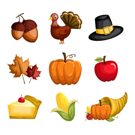 fall harvest: A  illustration of a set of Thanksgiving icons