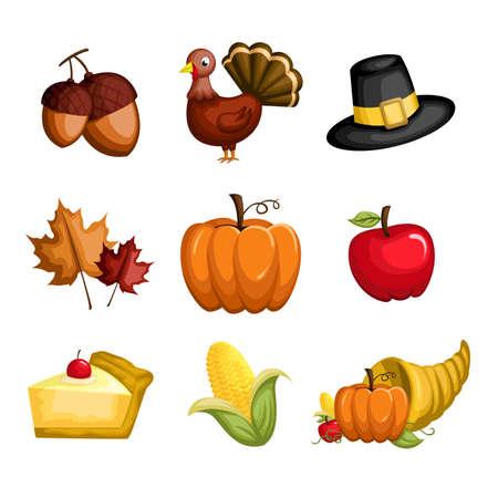 turkey thanksgiving: Una ilustraci�n de un conjunto de iconos de Acci�n de Gracias