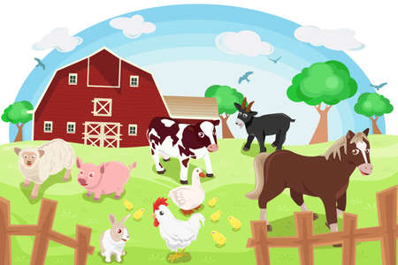 A illustration of different farm animals in a farm