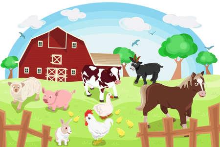 ranchito: Una ilustraci�n de diferentes animales de granja en una granja Vectores