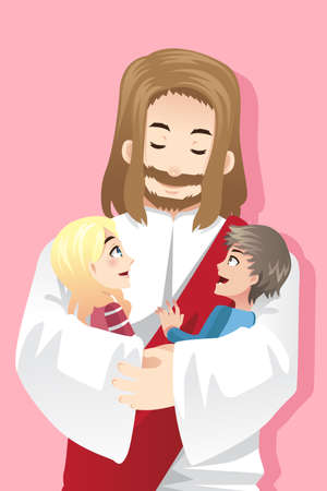 A illustration of Jesus holding two kids in his arms Vector