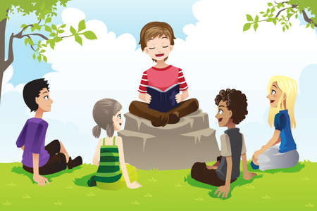 A illustration of a group of kids studying bible 일러스트