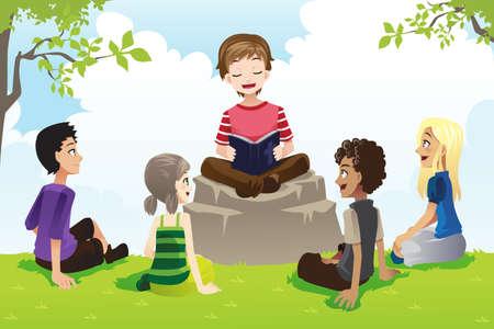 Een illustratie van een groep kinderen studeren bijbel