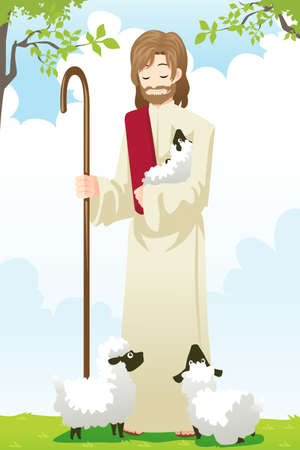 A illustration of Jesus with two sheep Vector