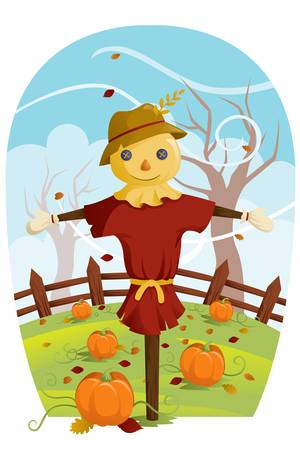 A illustration of a scarecrow during Fall harvest