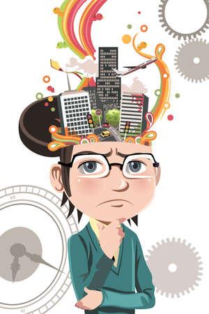 Uma ilustração do vetor de um conceito de negócio de um empresário pensando em negócios dentro de seu cérebro