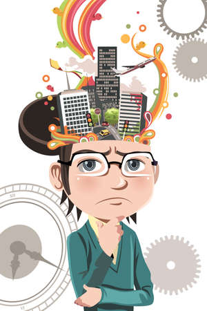 A vector illustration of a business concept of a businessman thinking about business inside his brain