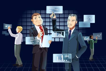 A vector illustration of businessmen working with new technology