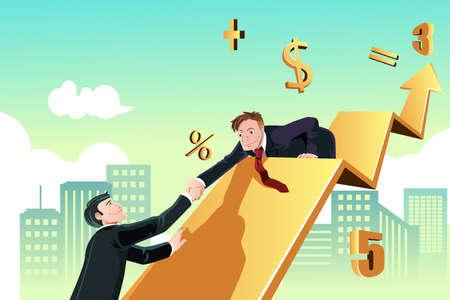 함께 성공을 달성하기 위해 자신의 동료를 돕는 사업가의 비즈니스 개념의 벡터 일러스트