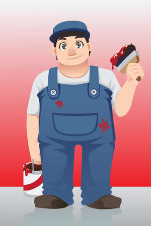 A vector illustration of a painter holding a can and a brush Иллюстрация