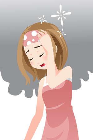 sickness: Una ilustraci�n vectorial de una mujer que tiene un dolor de cabeza