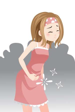 dolor abdominal: Una ilustración vectorial de una mujer que tiene un dolor de estómago Vectores