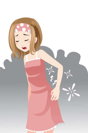 A vector illustration of a woman having a back pain