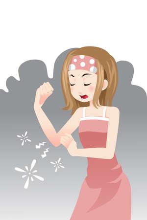 codo: Una ilustración vectorial de una mujer con un dolor en el codo Vectores
