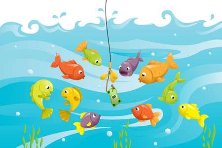 Een vector illustratie van een bos van vis rond een aas van een dollar bill, kan worden gebruikt voor financiële concept Stock Illustratie