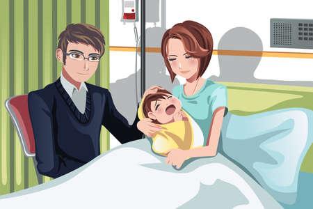 papa y mama: Una ilustraci�n de una pareja de tener un beb� reci�n nacido en el hospital