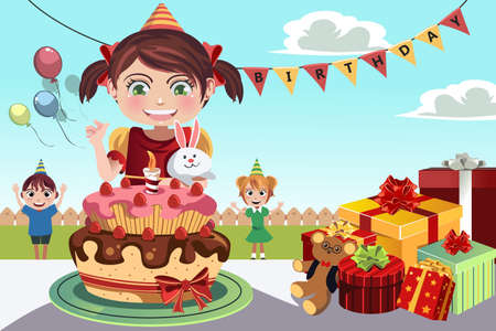 birthday party: A illustration of kids celebrating a birthday party Illustration