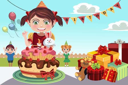 Una ilustración de niños celebrando una fiesta de cumpleaños Foto de archivo - 15543628