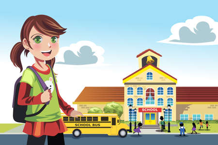 cartoon school girl: Una ilustraci�n de una ni�a que va a la escuela Vectores