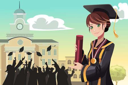 birrete de graduacion: Una ilustración de una niña sosteniendo su diploma de graduación con sus amigos en el fondo Vectores
