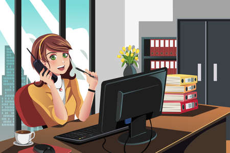 computer office: A  illustration of a businesswoman working in the office