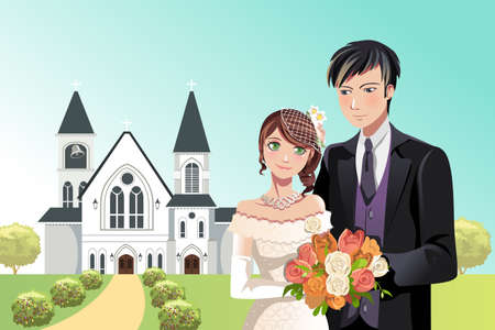 A  illustration of a couple getting married in front of a church 向量圖像