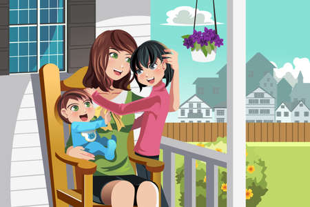 A illustration of a mother and her children sitting on a chair in front of their house