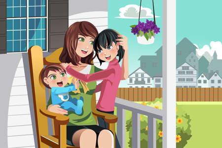 mum and daughter: Un esempio di una madre ei suoi figli, seduta su una sedia di fronte a casa loro