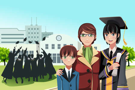 A  illustration of a graduation girl holding her diploma posing with her mother and brother with friends in the background
