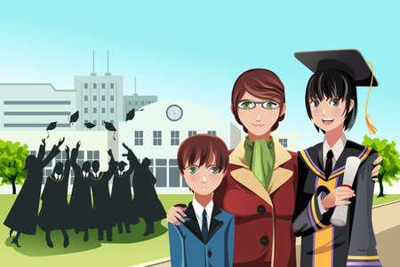 vie �tudiante: Une illustration d'une jeune fille tenant son dipl�me de graduation posant avec sa m�re et son fr�re avec des amis dans l'arri�re-plan