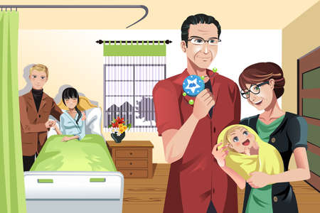 A illustration of a newborn baby with parents and grandparents