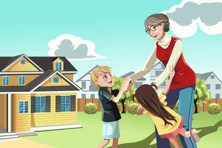 A  illustration of a grandmother playing with her grandchildren Illustration