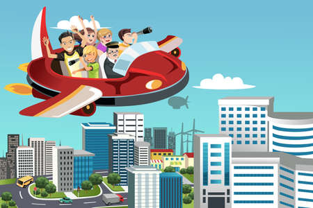 A illustration of a group of traveling people flying in an airplane