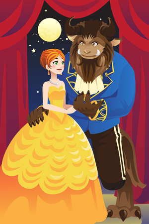 A illustration of beauty and the beast Vector