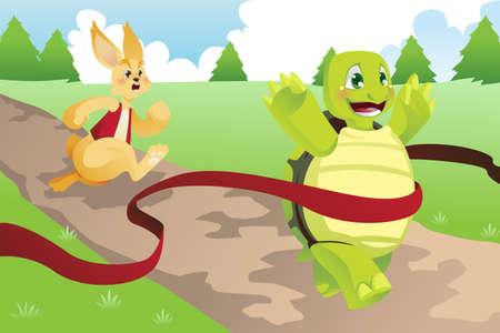 lapin cartoon: Une illustration de la tortue et le li�vre de course Illustration