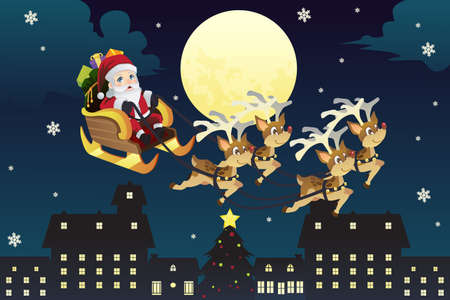 A illustration of Santa Claus riding the the sleigh pulled by reindeers in the middle of winter night Ilustração
