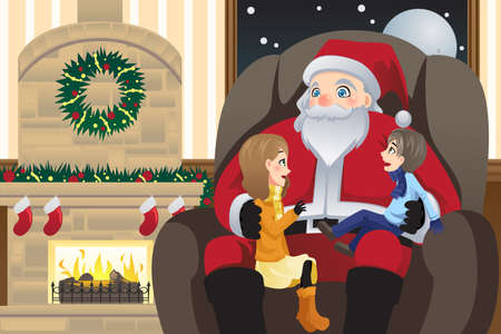 cartoon fireplace: A  illustration of Santa Claus with two kids on his lap