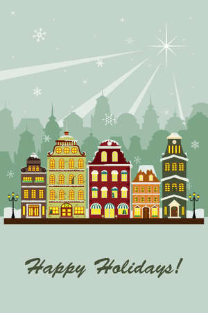 city lights: A illustration of a village in the winter greeting card